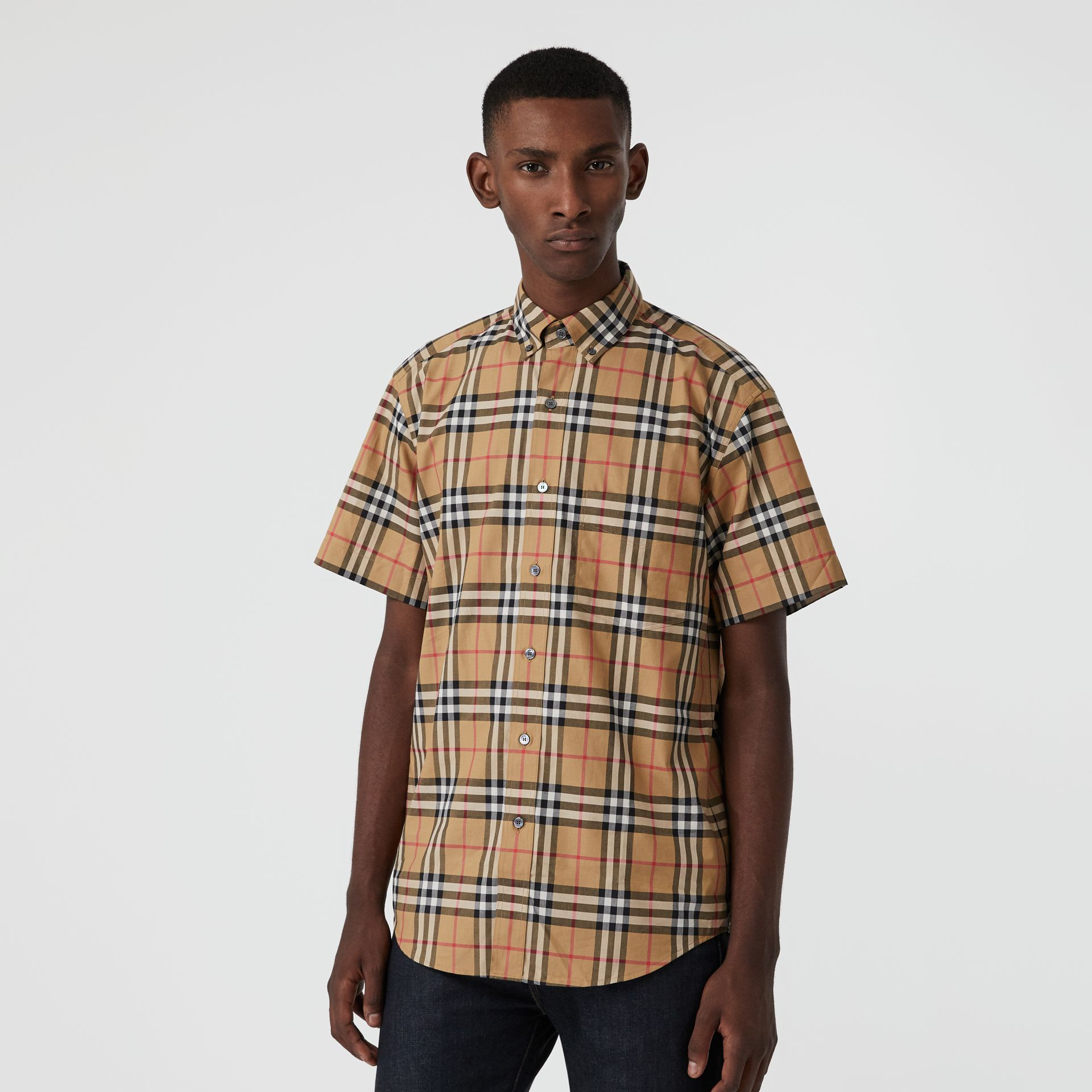 Short-sleeve Vintage Check Shirt in Antique Yellow | Burberry United Kingdom - gallery image 0