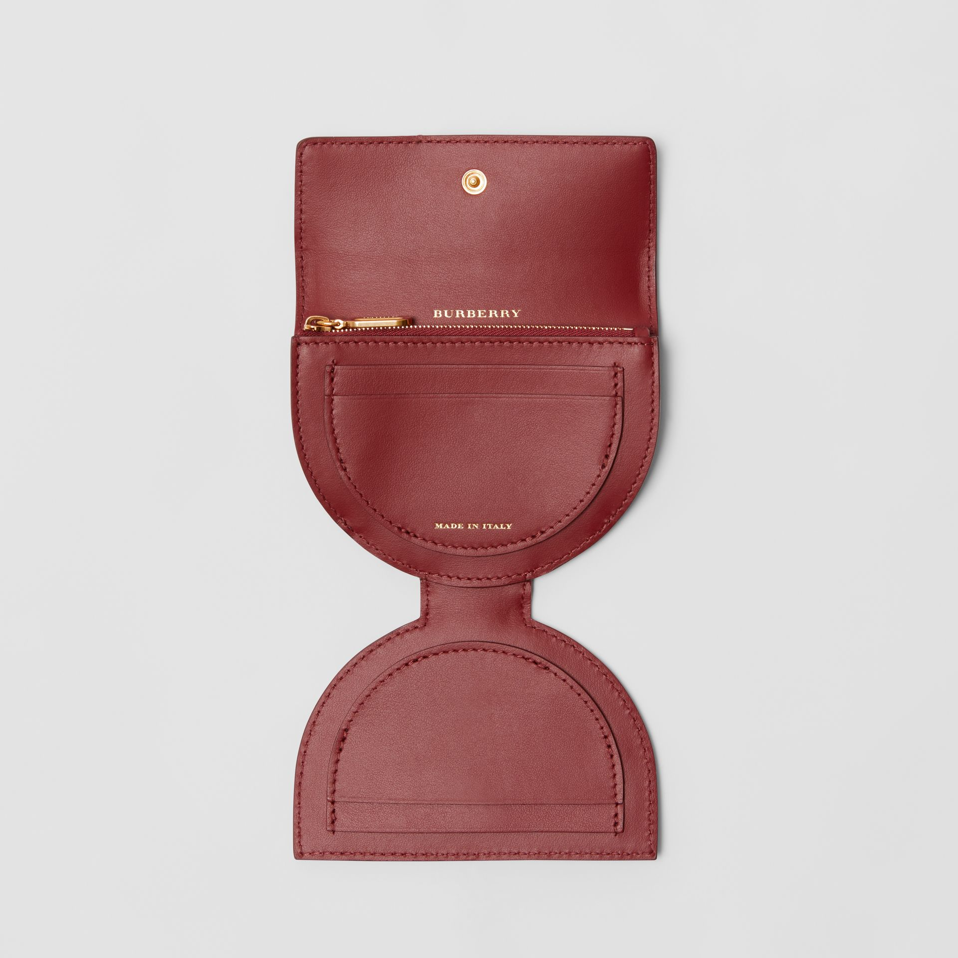 D-ring Detail Patent Leather Coin Case in Crimson - Women | Burberry United States - gallery image 3