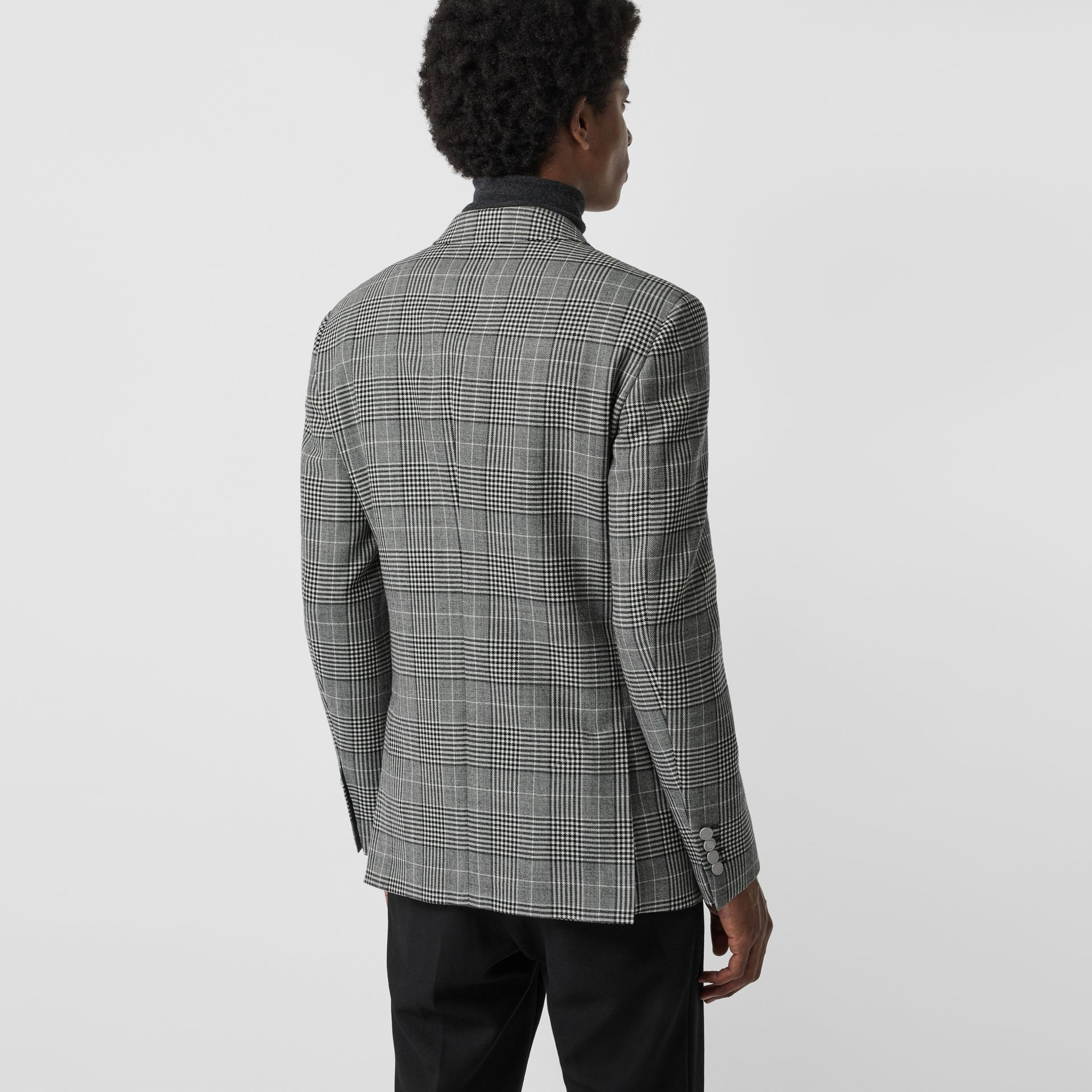 Slim Fit Check Wool Double-breasted Jacket in Black - Men | Burberry Singapore - gallery image 2