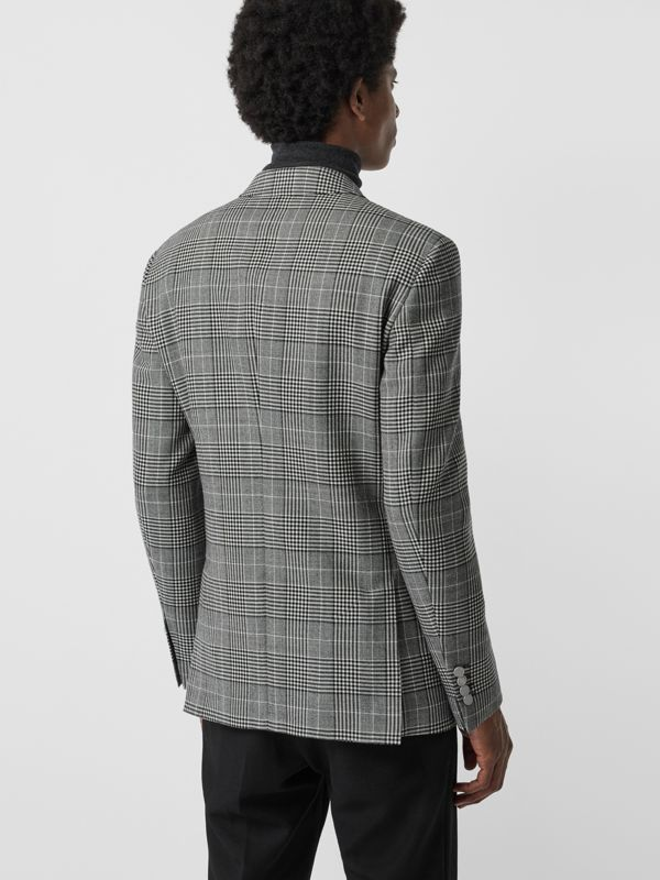 Slim Fit Check Wool Double-breasted Jacket in Black - Men | Burberry - cell image 2
