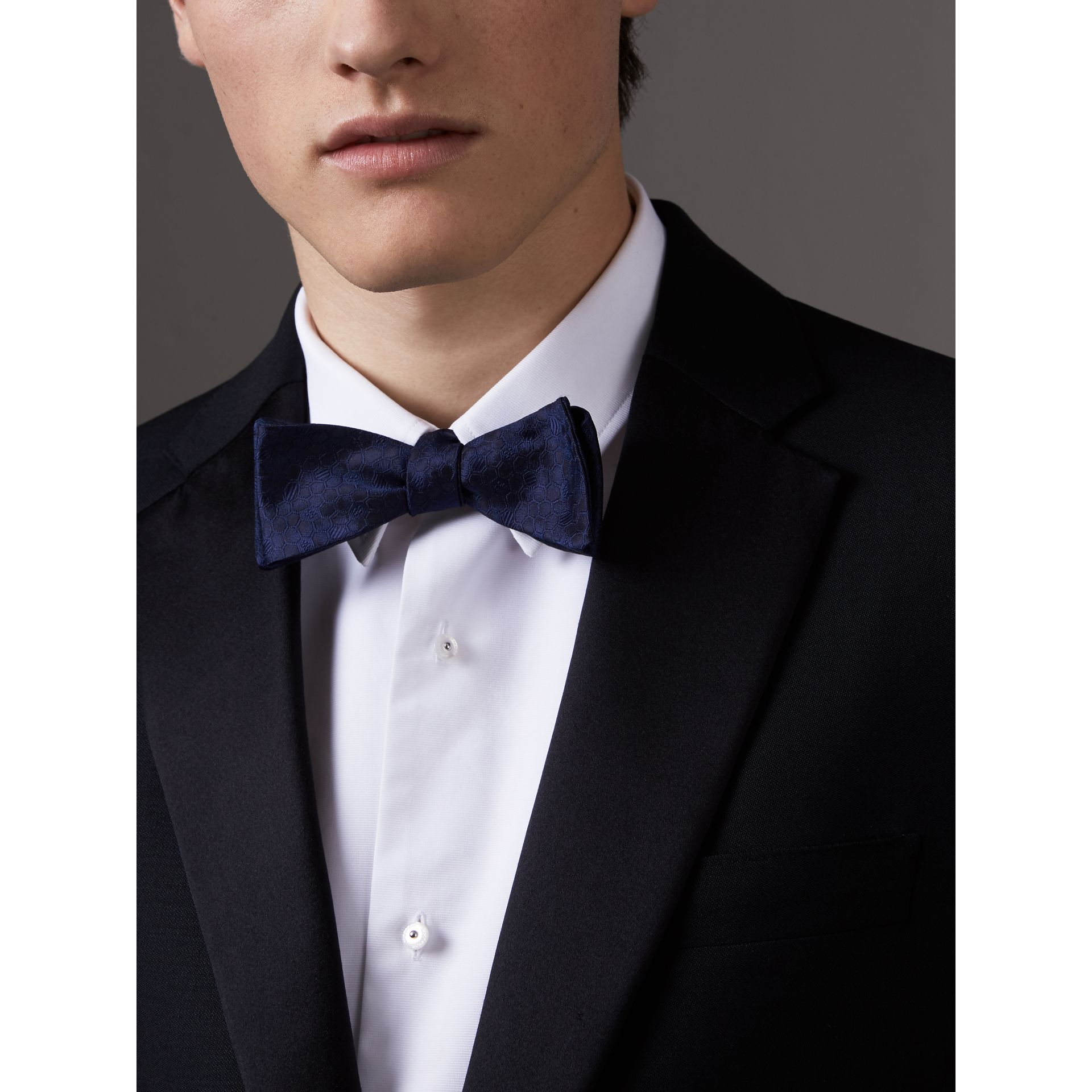 Geometric Silk Jacquard Bow Tie in Navy - Men | Burberry - gallery image 2