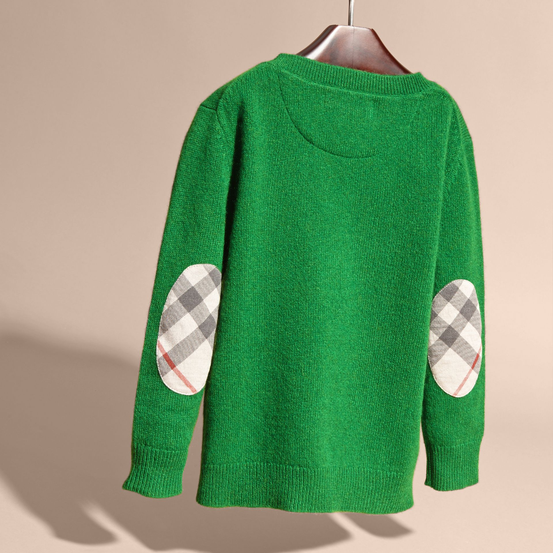 Check Elbow Patch Cashmere Sweater in Bright Pigment Green - gallery image 4