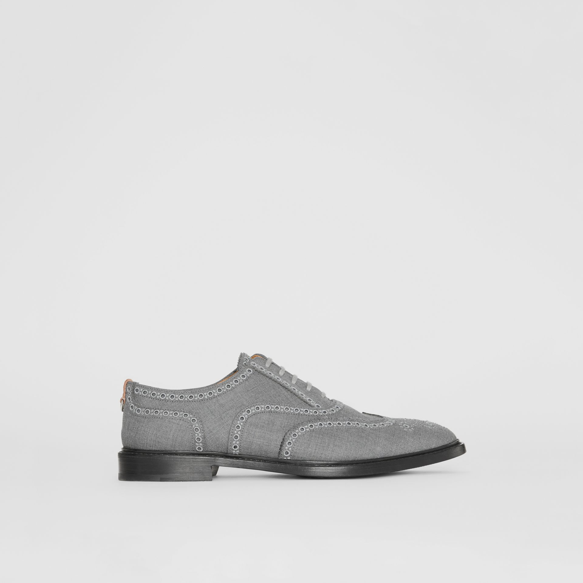 Embroidered Wool Brogues in Light Grey | Burberry United Kingdom - gallery image 5