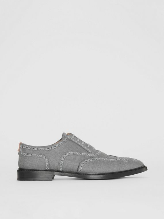 Embroidered Wool Brogues in Light Grey