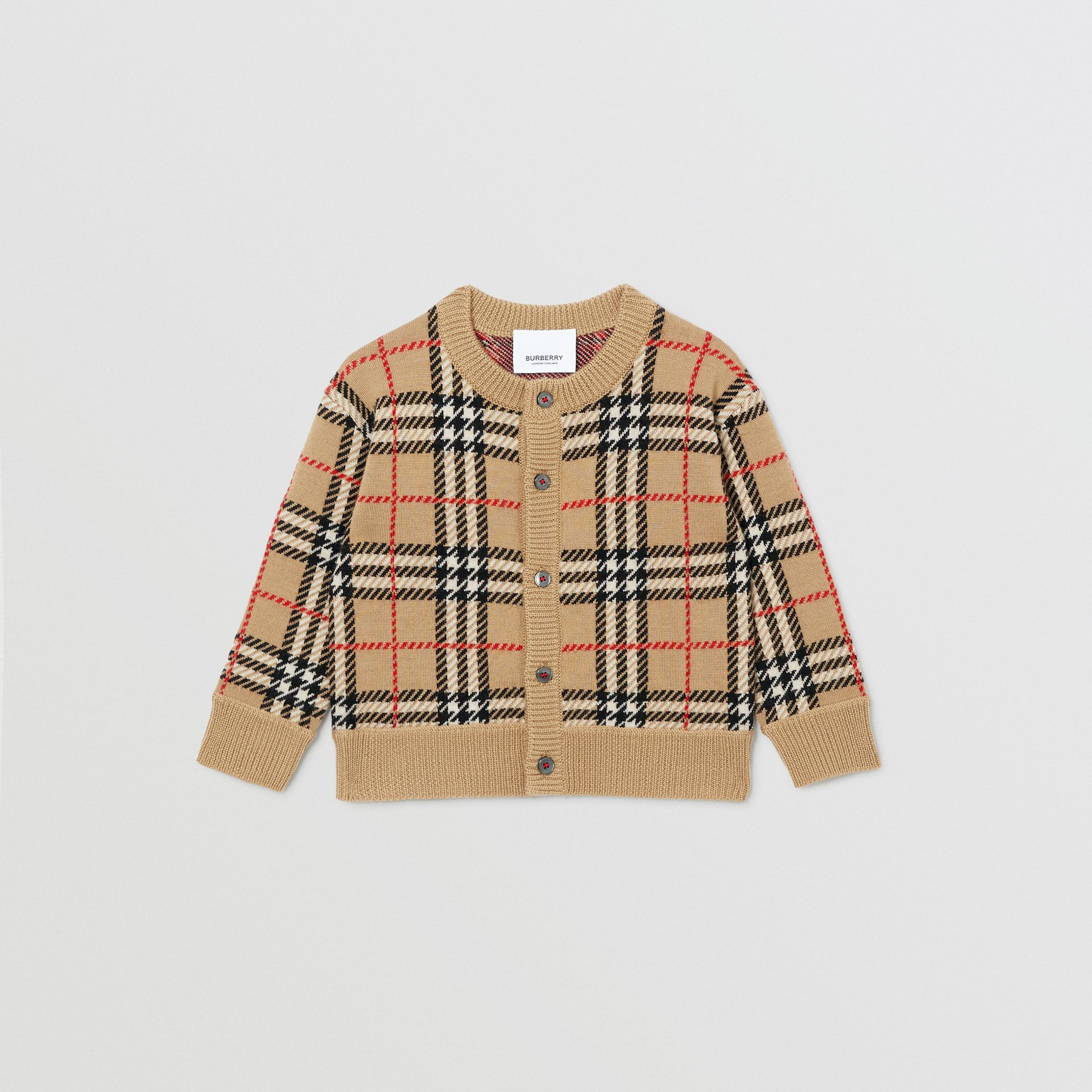 Check Merino Wool Cardigan in Archive Beige - Children | Burberry - gallery image 0