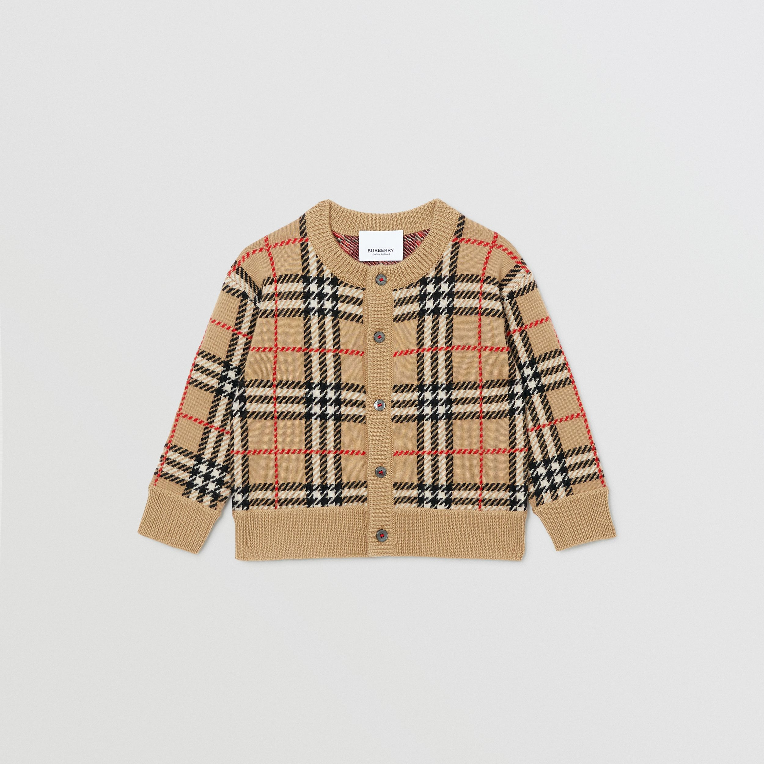 Check Merino Wool Cardigan in Archive Beige - Children | Burberry United Kingdom - 1
