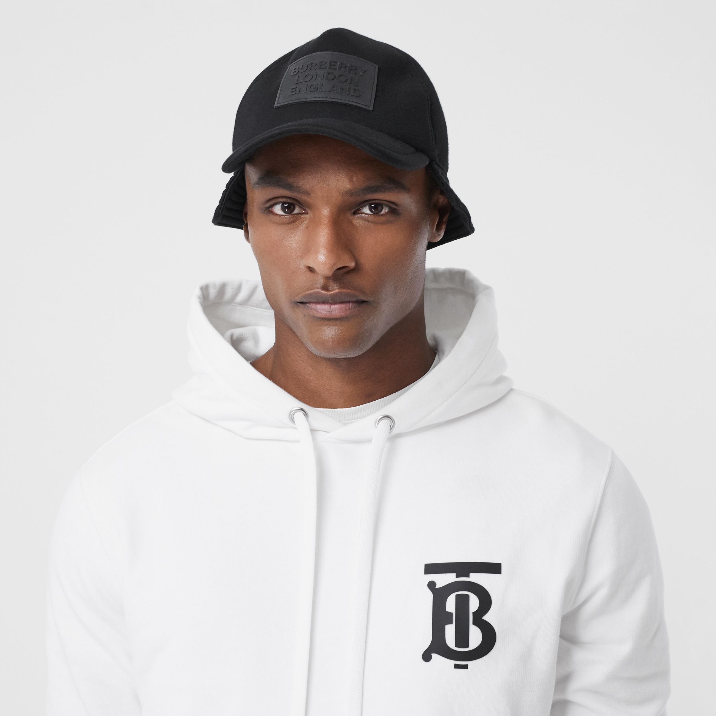 Monogram Motif Cotton Hoodie in White - Men | Burberry Australia - 2