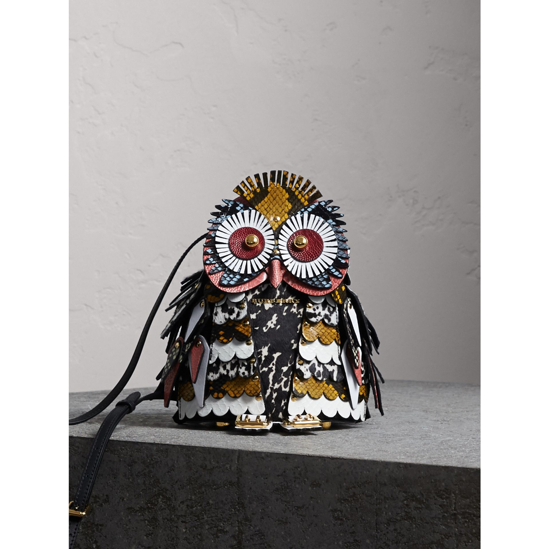 The Owl – Calf Suede and Calf Hair Crossbody Bag in Black/white - Women | Burberry United States - gallery image 1