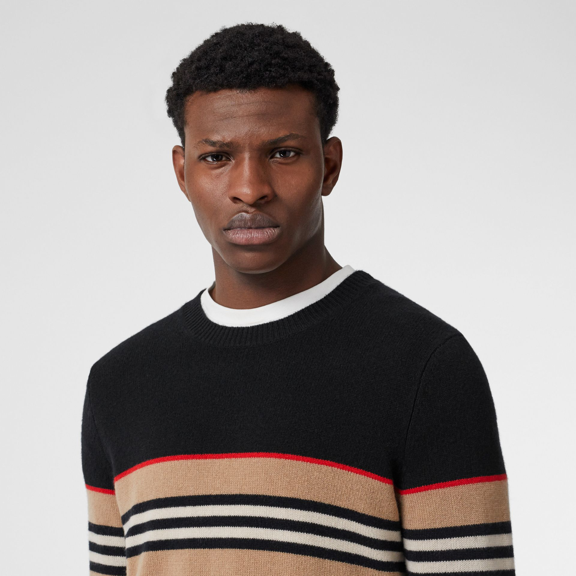 Icon Stripe Detail Cashmere Sweater in Black - Men | Burberry - gallery image 1