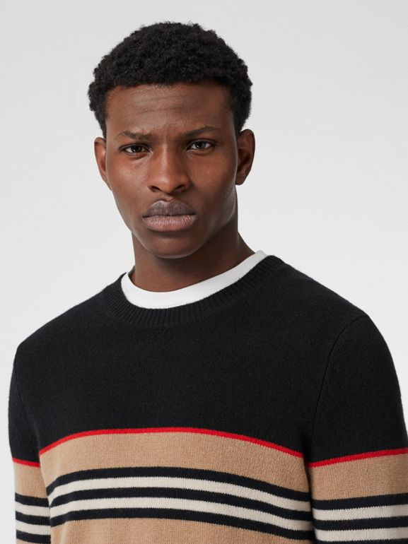 Icon Stripe Detail Cashmere Sweater in Black - Men | Burberry - cell image 1