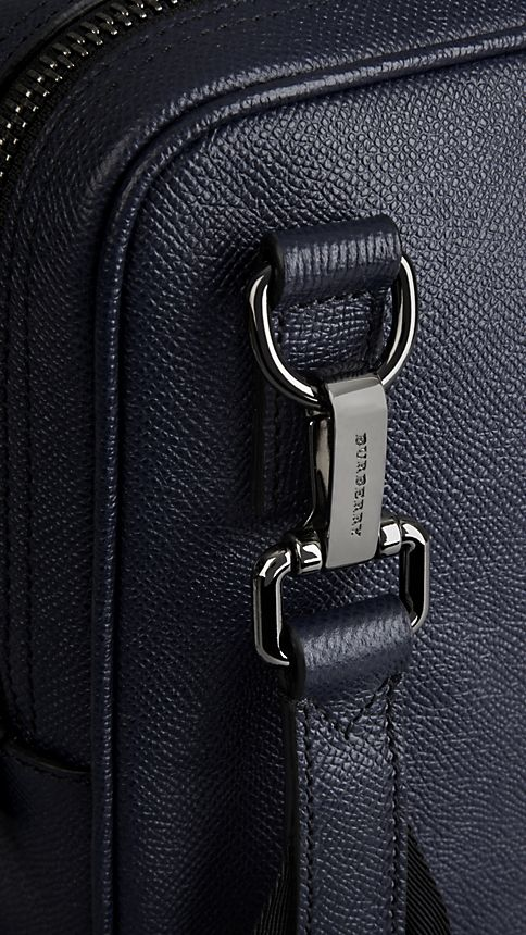 Navy London Leather Crossbody Briefcase Navy - Image 7