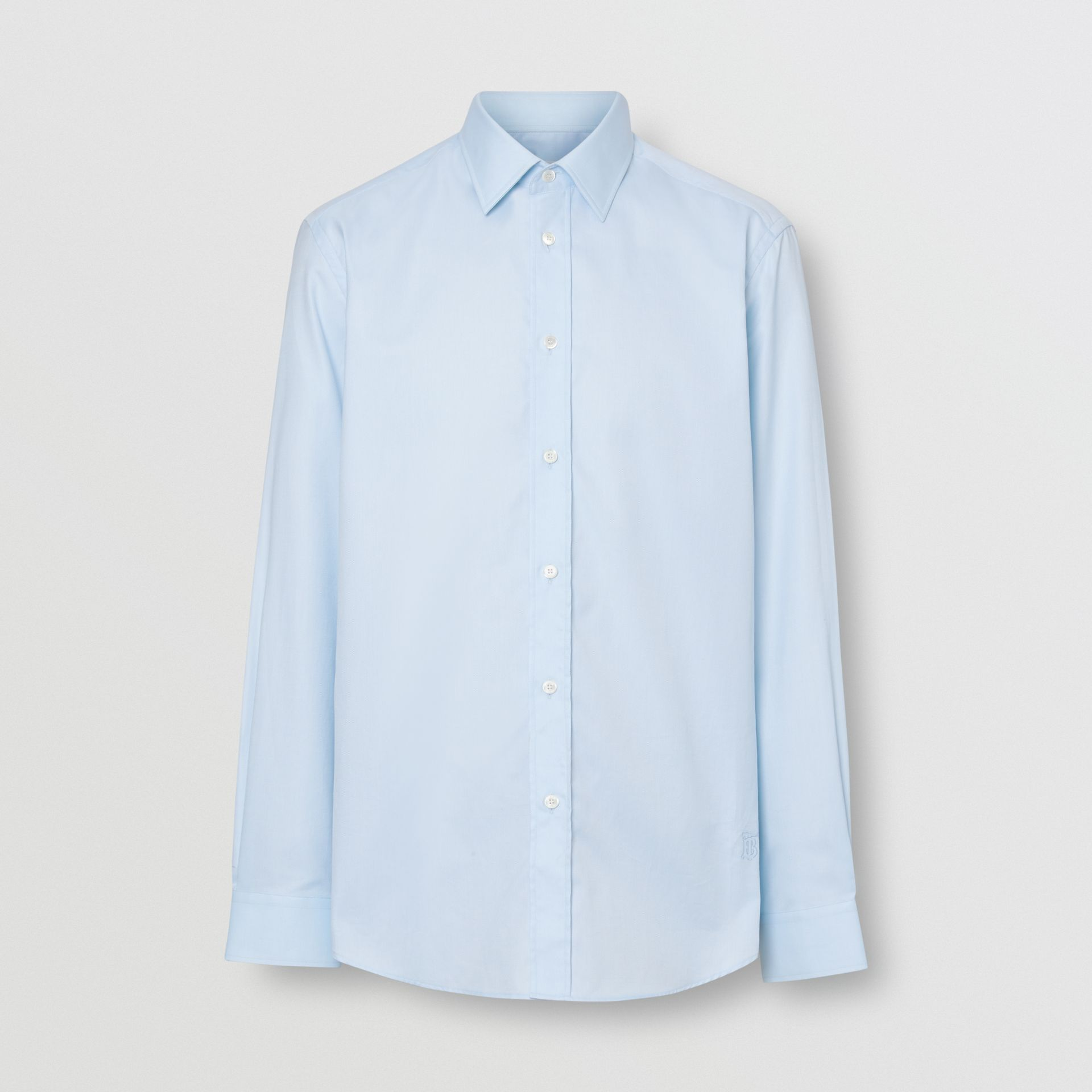 Classic Fit Monogram Motif Cotton Oxford Shirt in Pale Blue - Men | Burberry United Kingdom - gallery image 3
