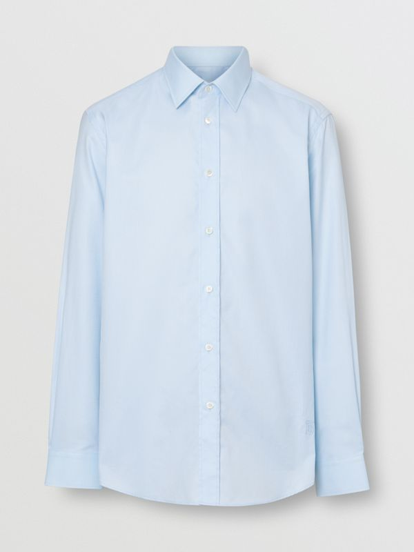 Classic Fit Monogram Motif Cotton Oxford Shirt in Pale Blue - Men | Burberry United Kingdom - cell image 3