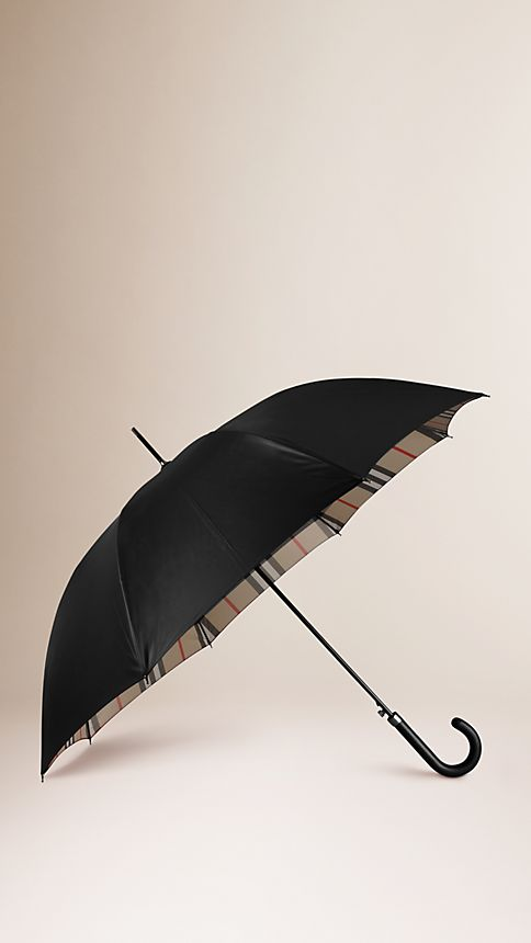 Black camel check Check-Lined Walking Umbrella - Image 1