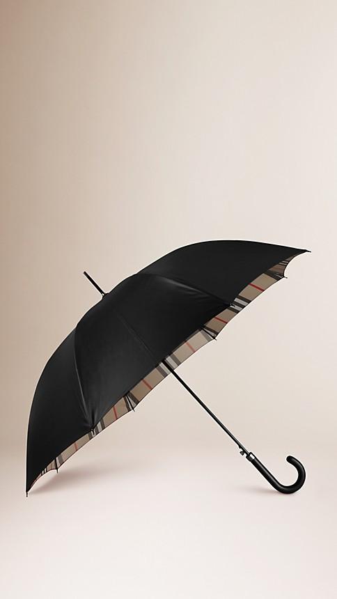 Nero/check cammello Ombrello da passeggio con motivo check all'interno - Immagine 1