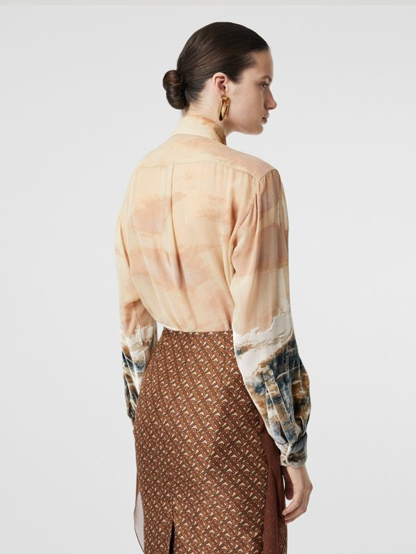 Ship Print Devoré Silk Blend Oversized Shirt in Bronze - Women | Burberry - cell image 2