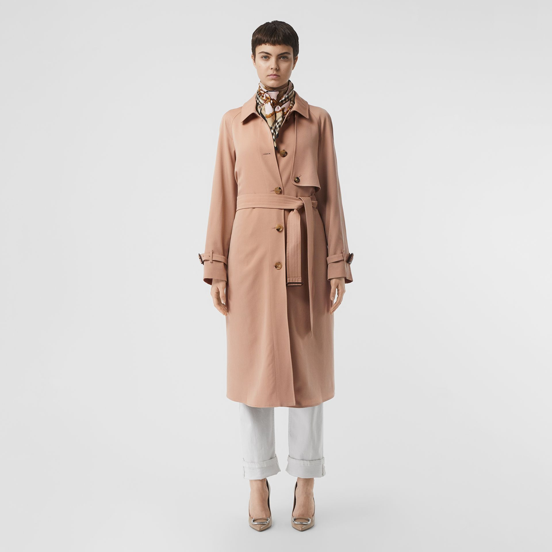 Wool Gabardine Trench Coat in Blush Pink - Women | Burberry - gallery image 8