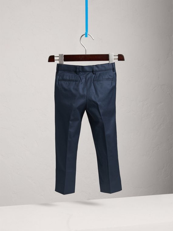 Tailored Stretch Cotton Trousers in Navy | Burberry Canada - cell image 3