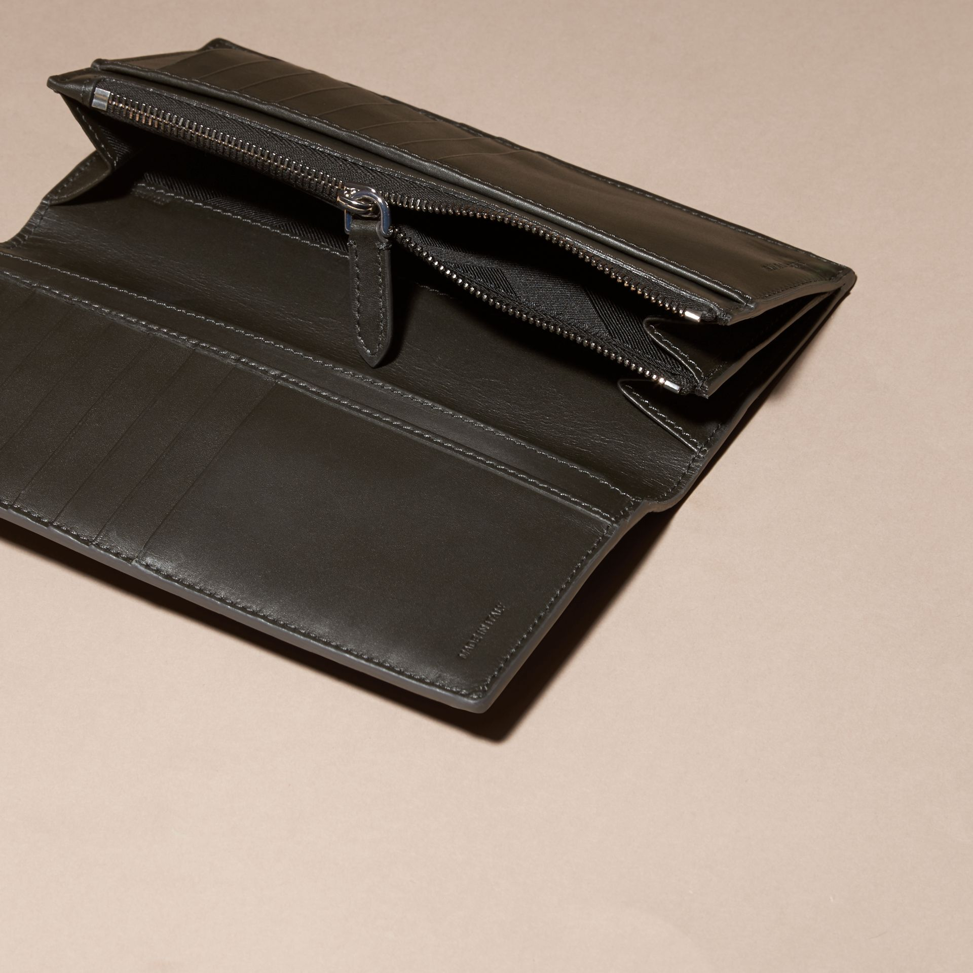 Charcoal/black Colour Block London Leather Continental Wallet Charcoal/black - gallery image 5