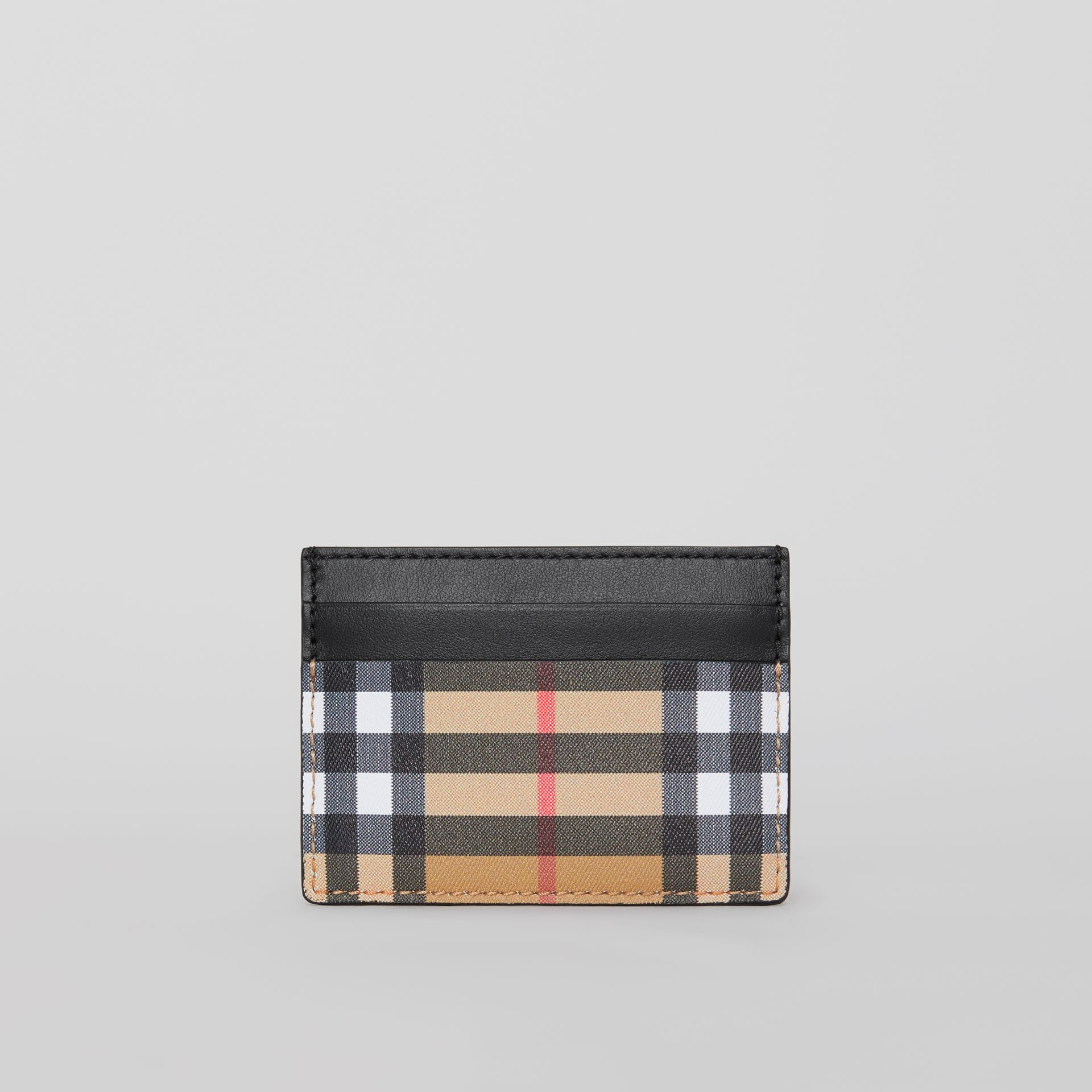 Vintage Check Leather Card Case in Black | Burberry Australia - gallery image 2