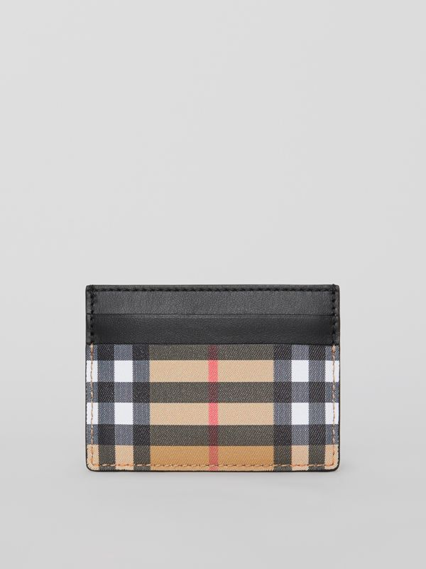 Vintage Check Leather Card Case in Black | Burberry Canada - cell image 2