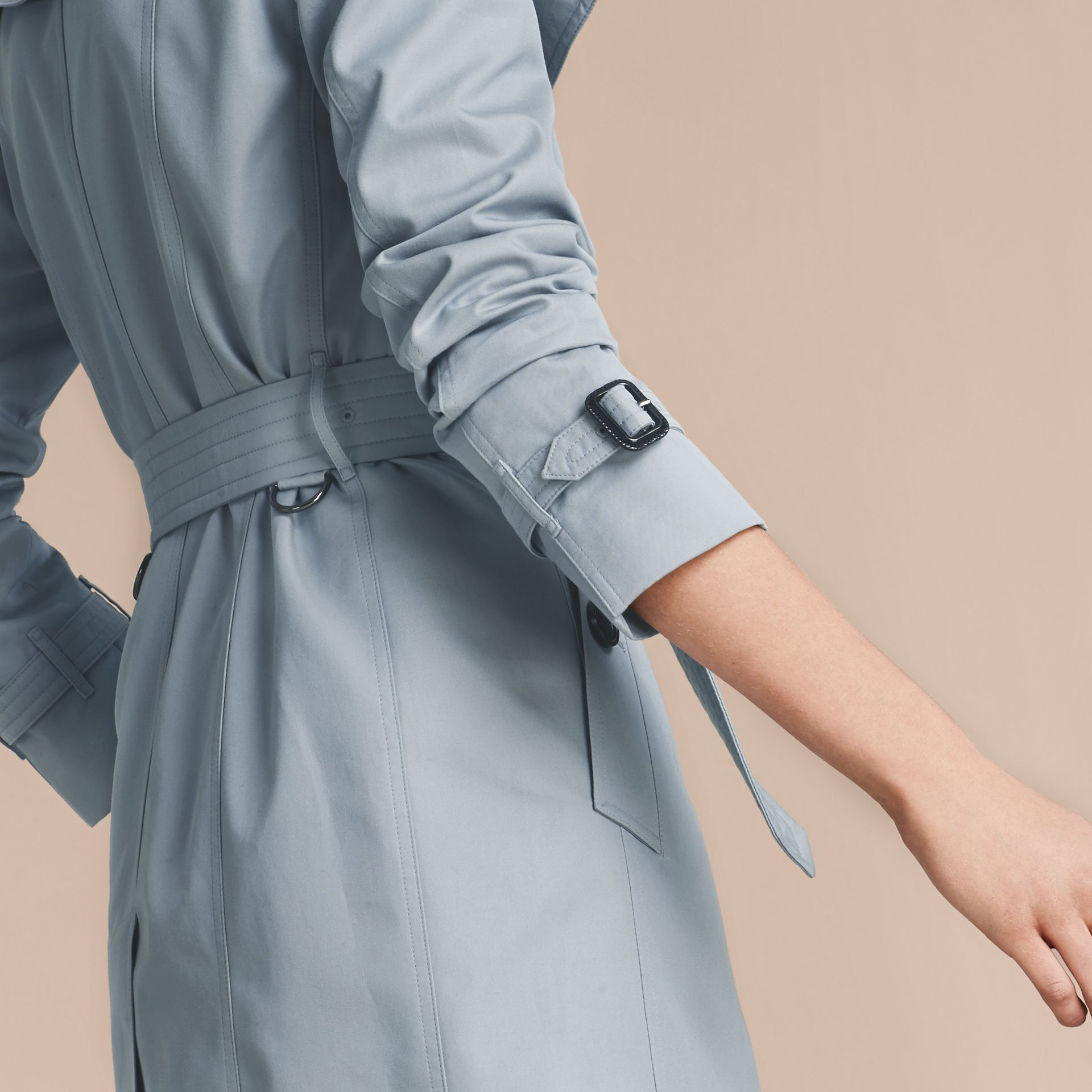 Pale sky blue Cotton Gabardine Trench Coat Pale Sky Blue - gallery image 5