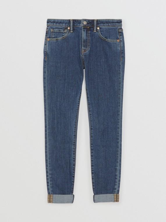 直版剪裁日本布邊丹寧牛仔褲 (藍色)