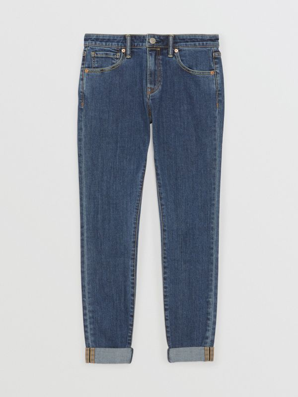 Straight Fit Japanese Selvedge Denim Jeans in Blue - Women | Burberry - cell image 3
