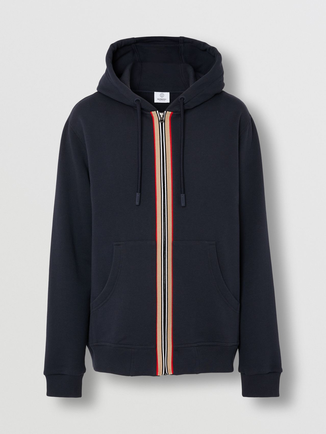 Icon Stripe Detail Cotton Hooded Top in Navy