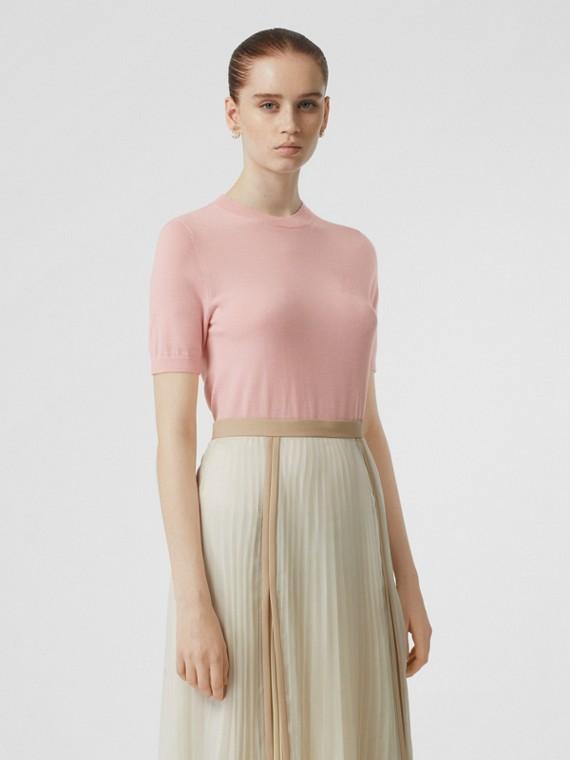Blusa de cashmere com monograma (Rosa)