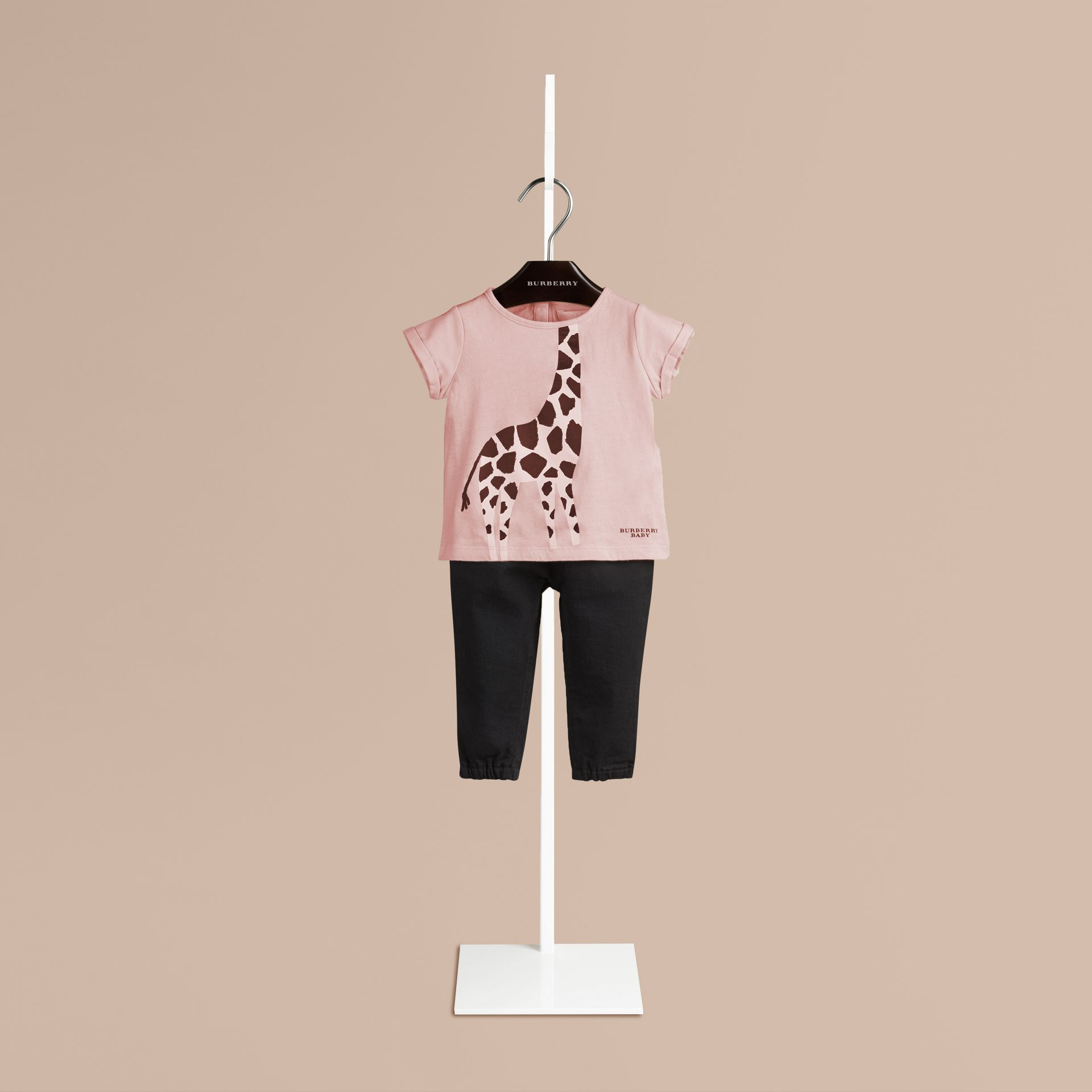 Chalk pink Giraffe Print Cotton T-shirt Chalk Pink - gallery image 1