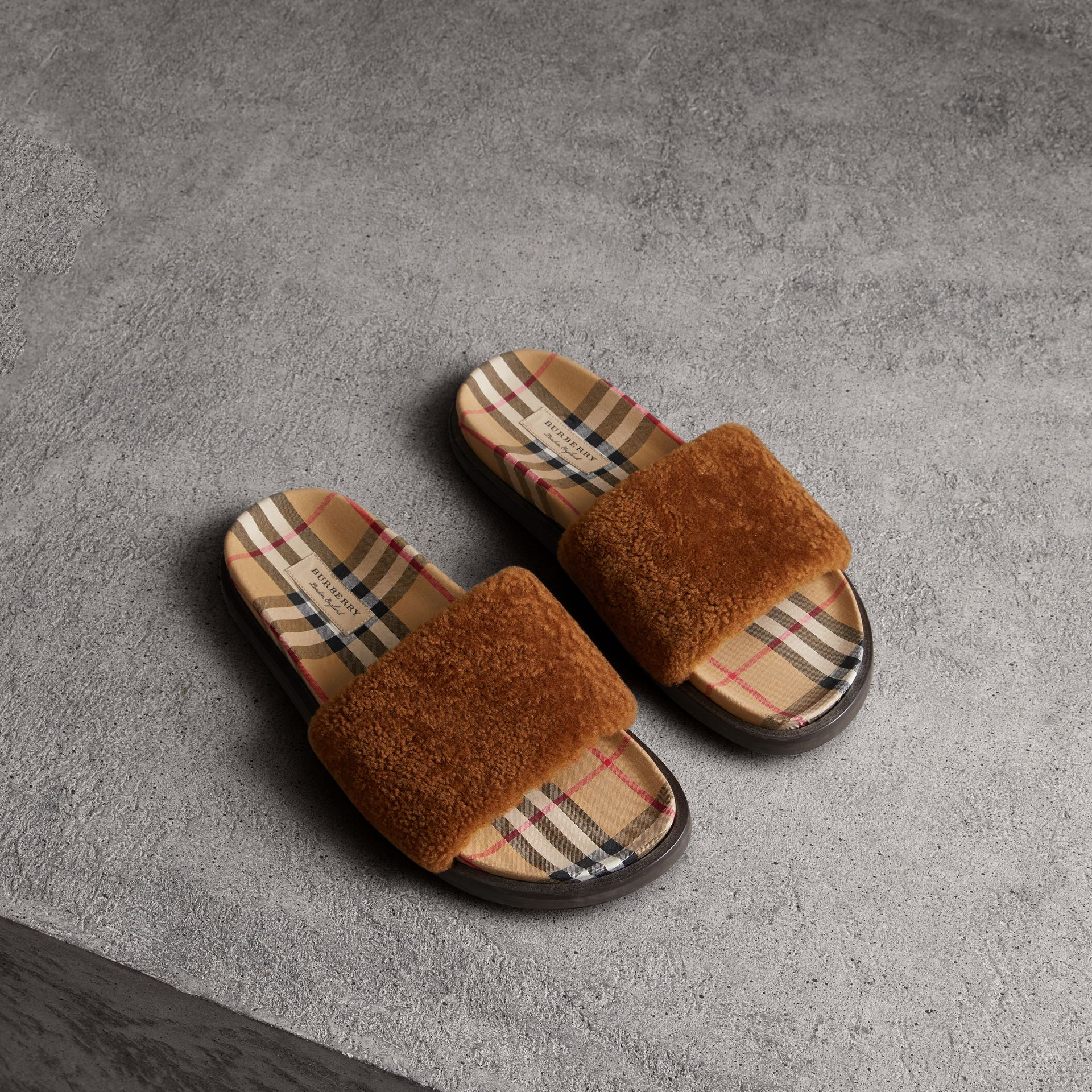 Shearling and Vintage Check Slides in Tan - Women | Burberry - gallery image 0