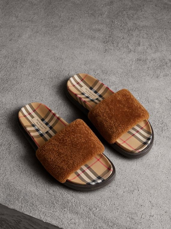 Shearling and Vintage Check Slides in Tan