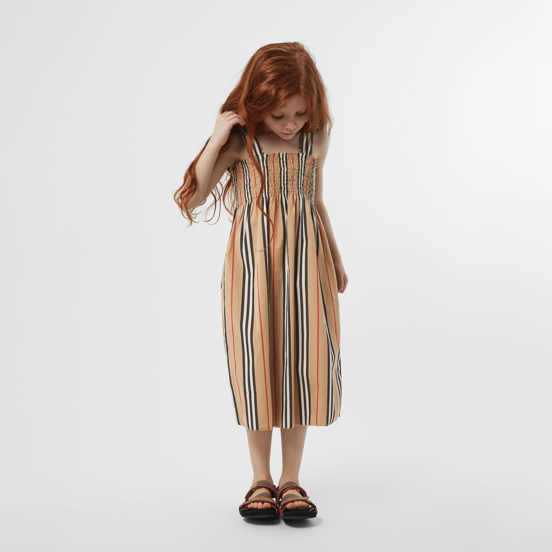 Smocked Icon Stripe Cotton Dress in Archive Beige | Burberry - gallery image 2