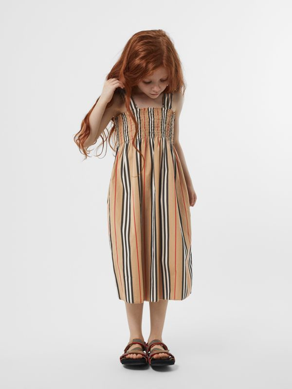 Smocked Icon Stripe Cotton Dress in Archive Beige | Burberry - cell image 2