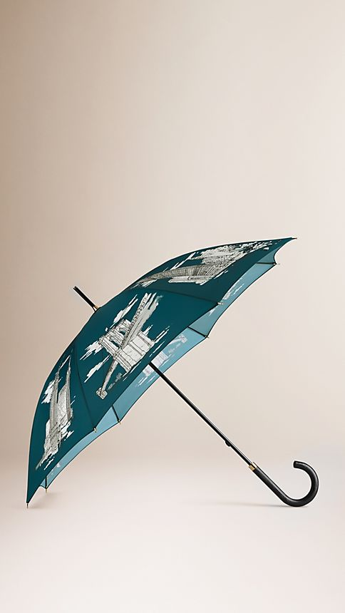 Dark cyan print New York Landmarks Walking Umbrella - Image 1