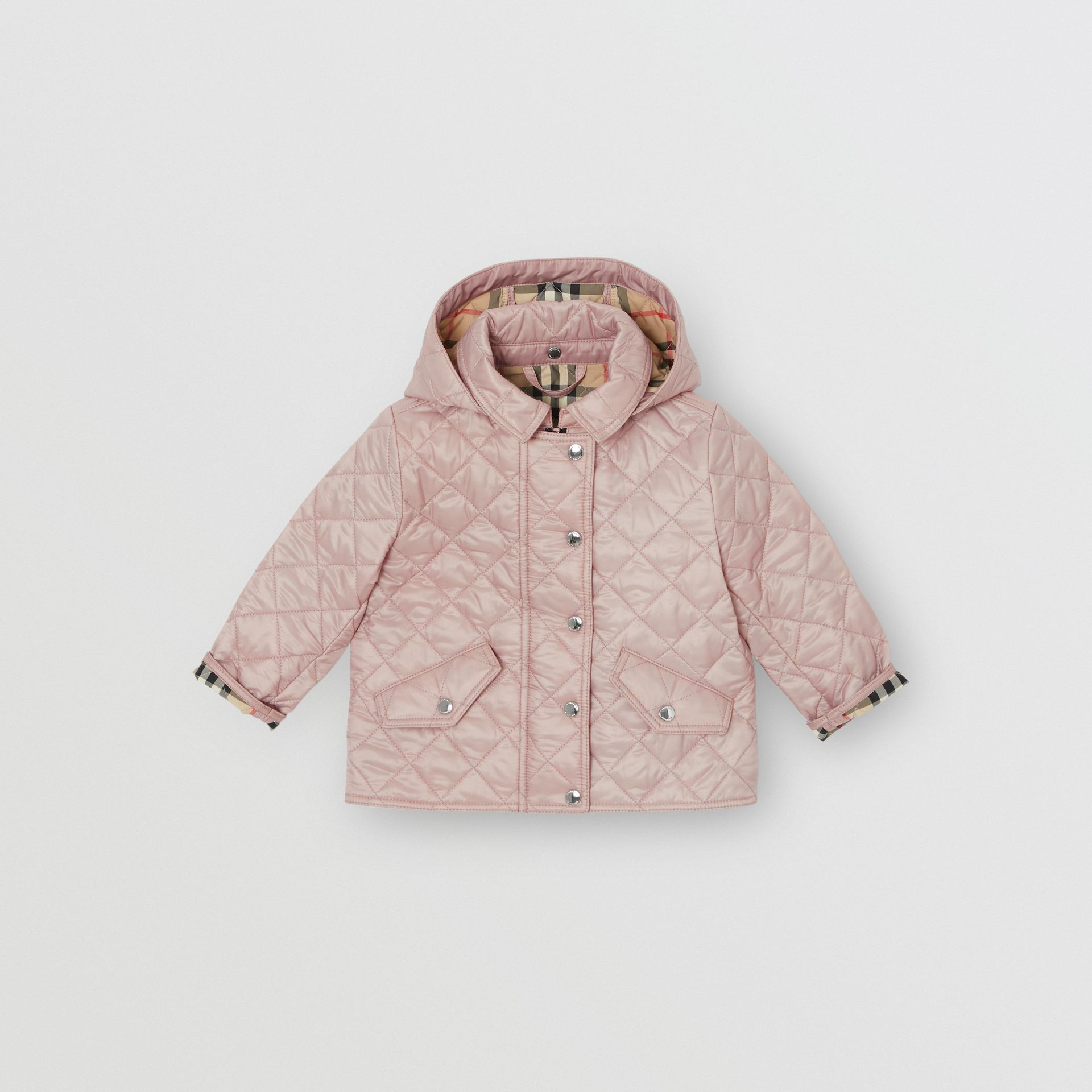 Detachable Hood Diamond Quilted Jacket in Ice Pink - Children | Burberry - gallery image 0