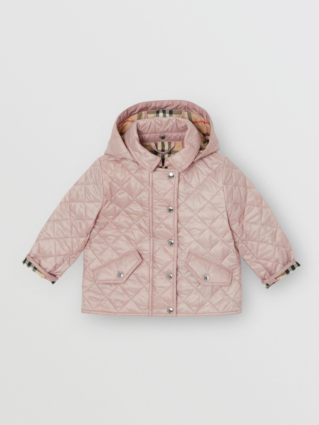 Detachable Hood Diamond Quilted Jacket in Ice Pink