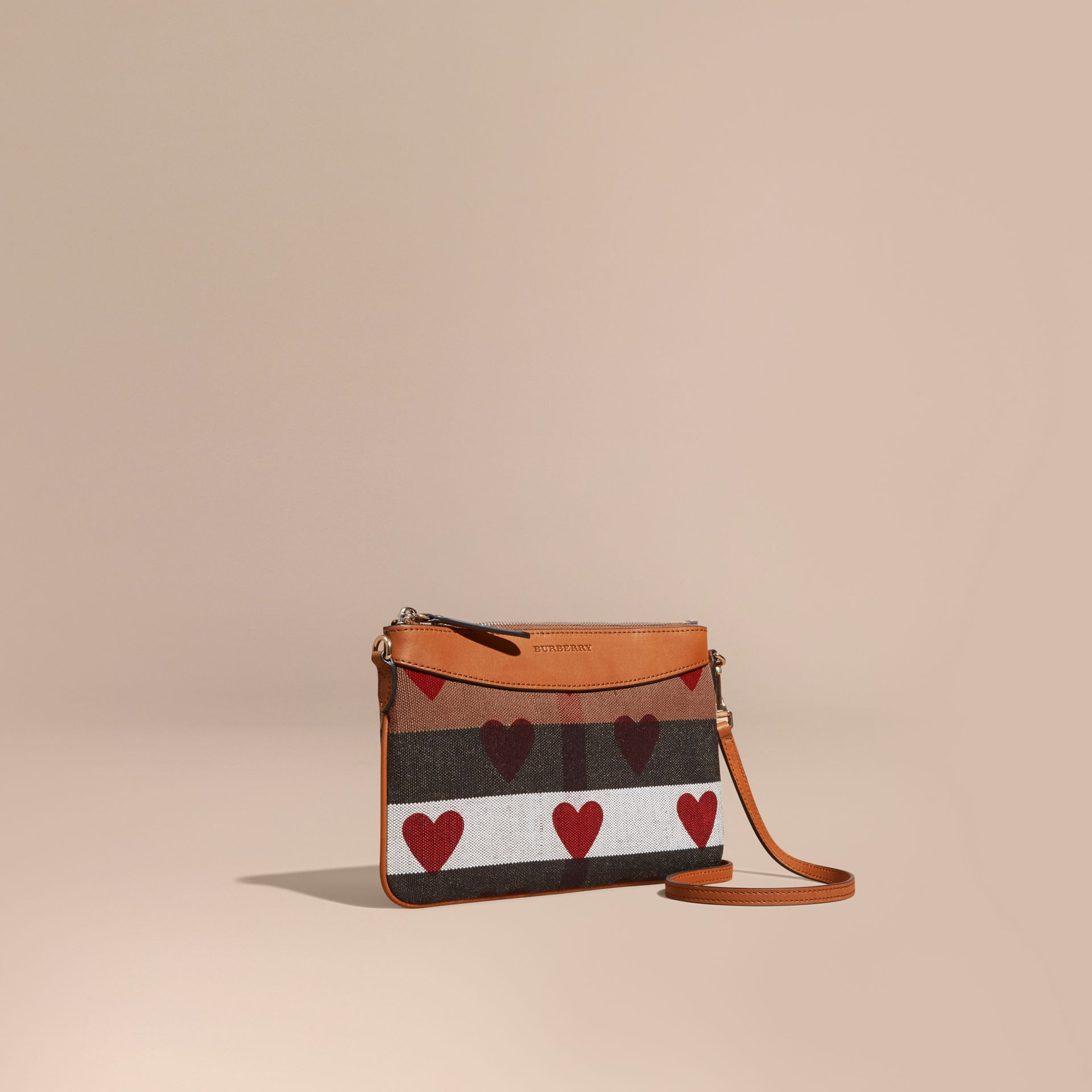 Parade red Heart Print Canvas Check Clutch Bag Parade Red - gallery image 1