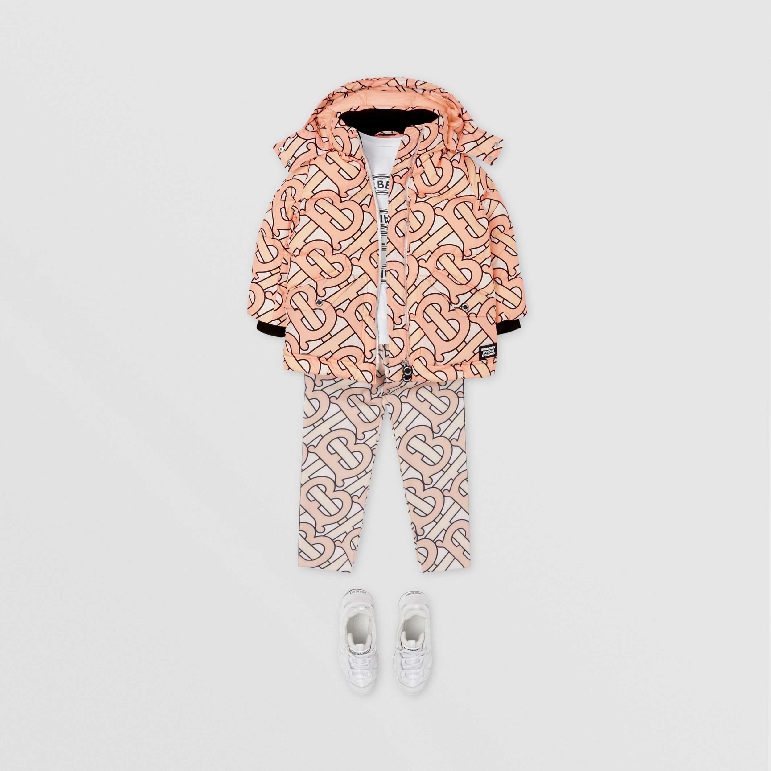 Monogram Print Puffer Coat in Rose Pink | Burberry - 3