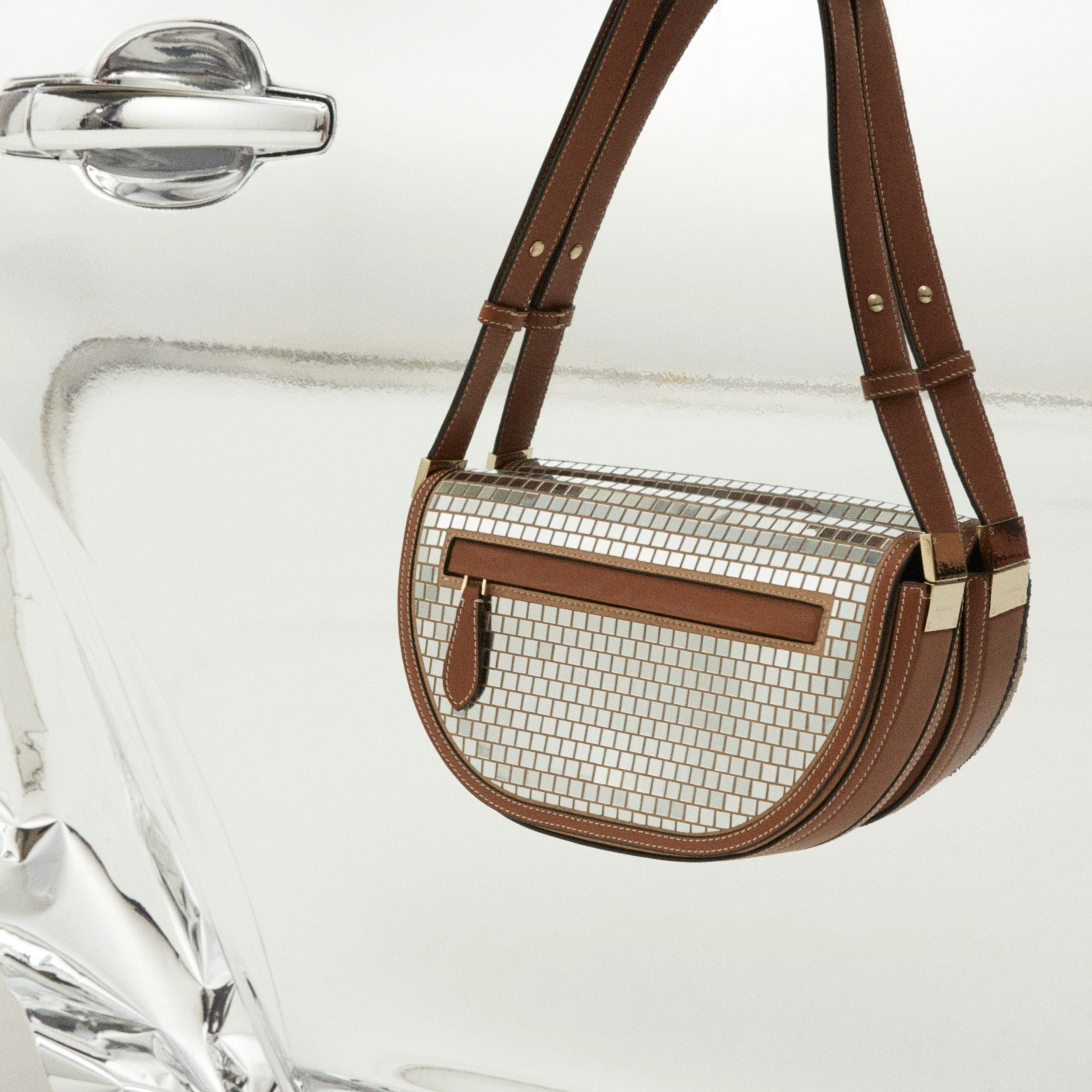 Small Mirrored Suede Olympia Bag in Warm Tan | Burberry Canada - 2