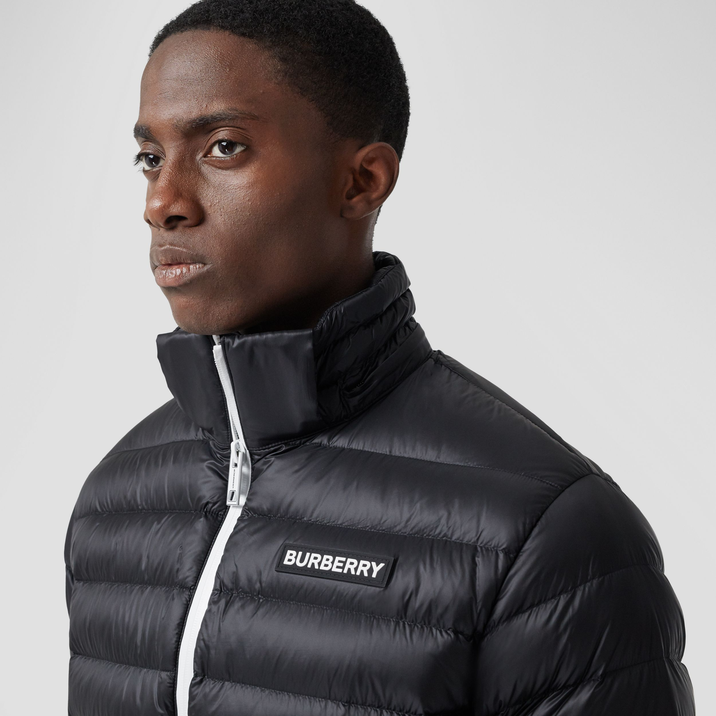 Detachable Hood Logo Appliqué Puffer Jacket in Black - Men | Burberry - 2