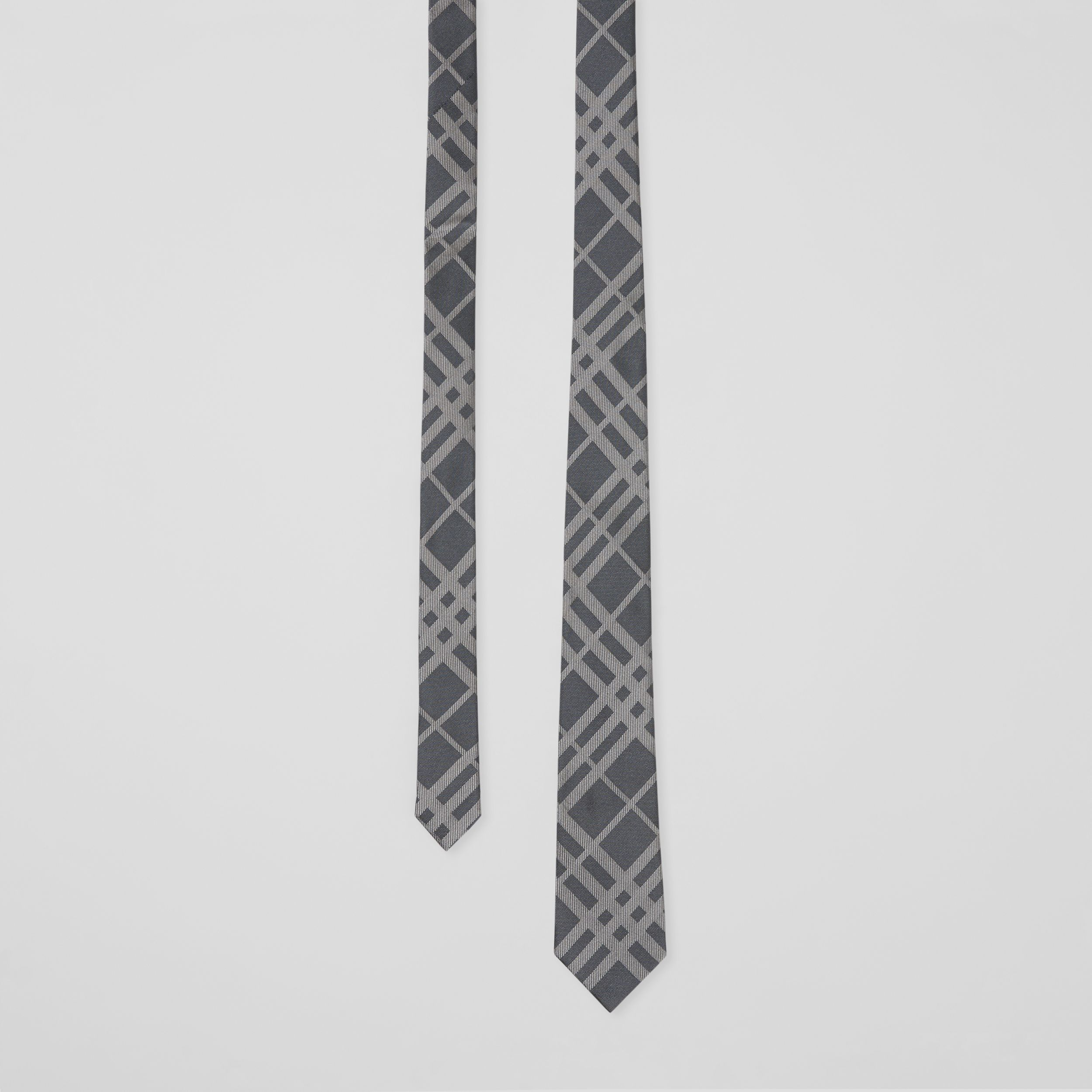 Classic Cut Check Silk Jacquard Tie in Mid Grey - Men | Burberry - 1