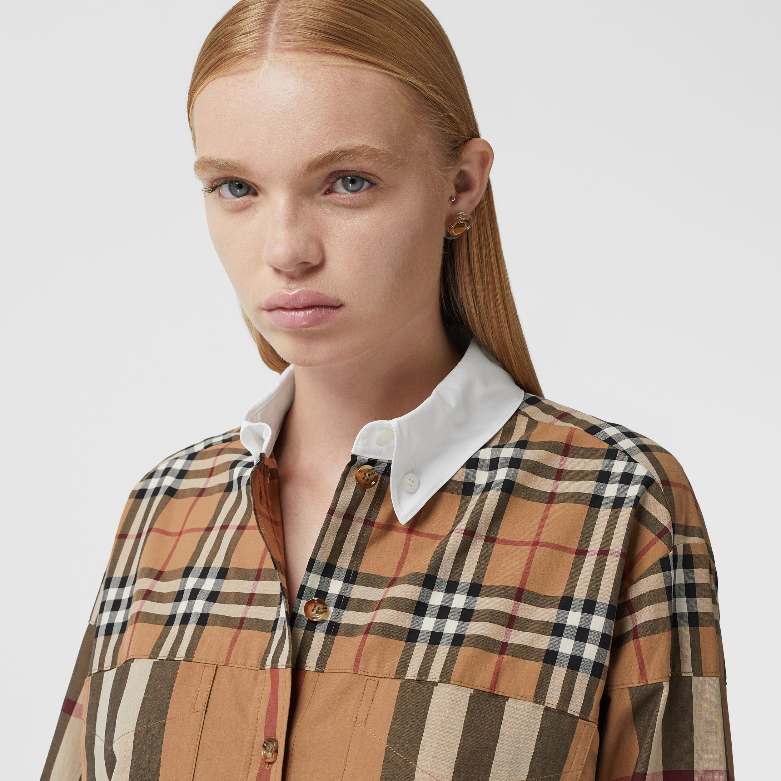 Contrast Check Cotton Oversized Shirt Dress in Birch Brown - Women | Burberry - 2