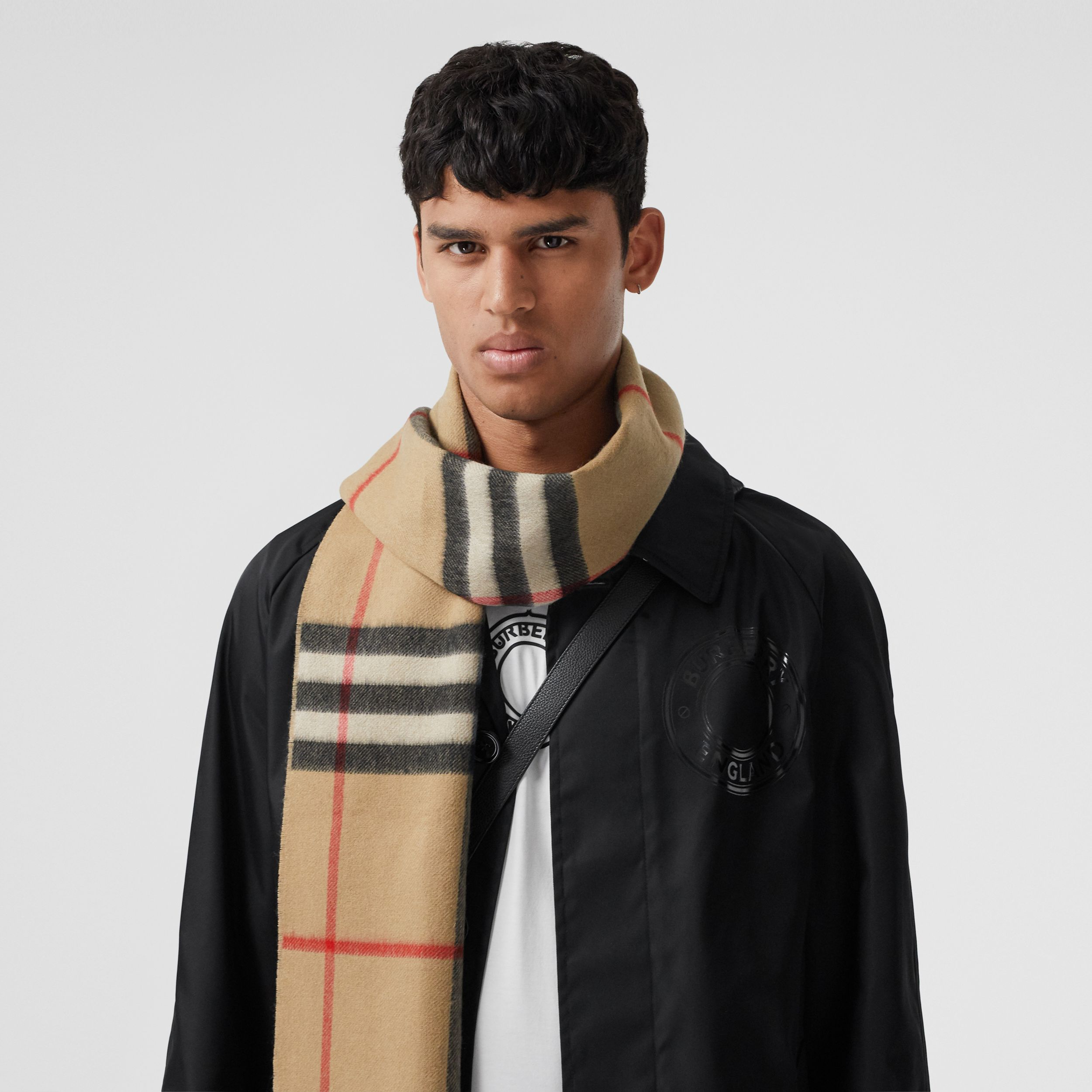 Reversible Check and Monogram Cashmere Scarf in Archive Beige | Burberry Singapore - 4