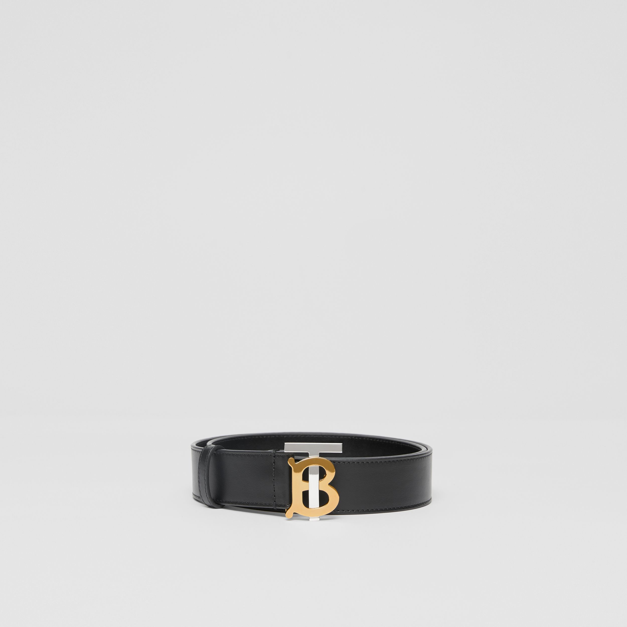 Two-tone Monogram Motif Leather Belt in Black - Men | Burberry - 4