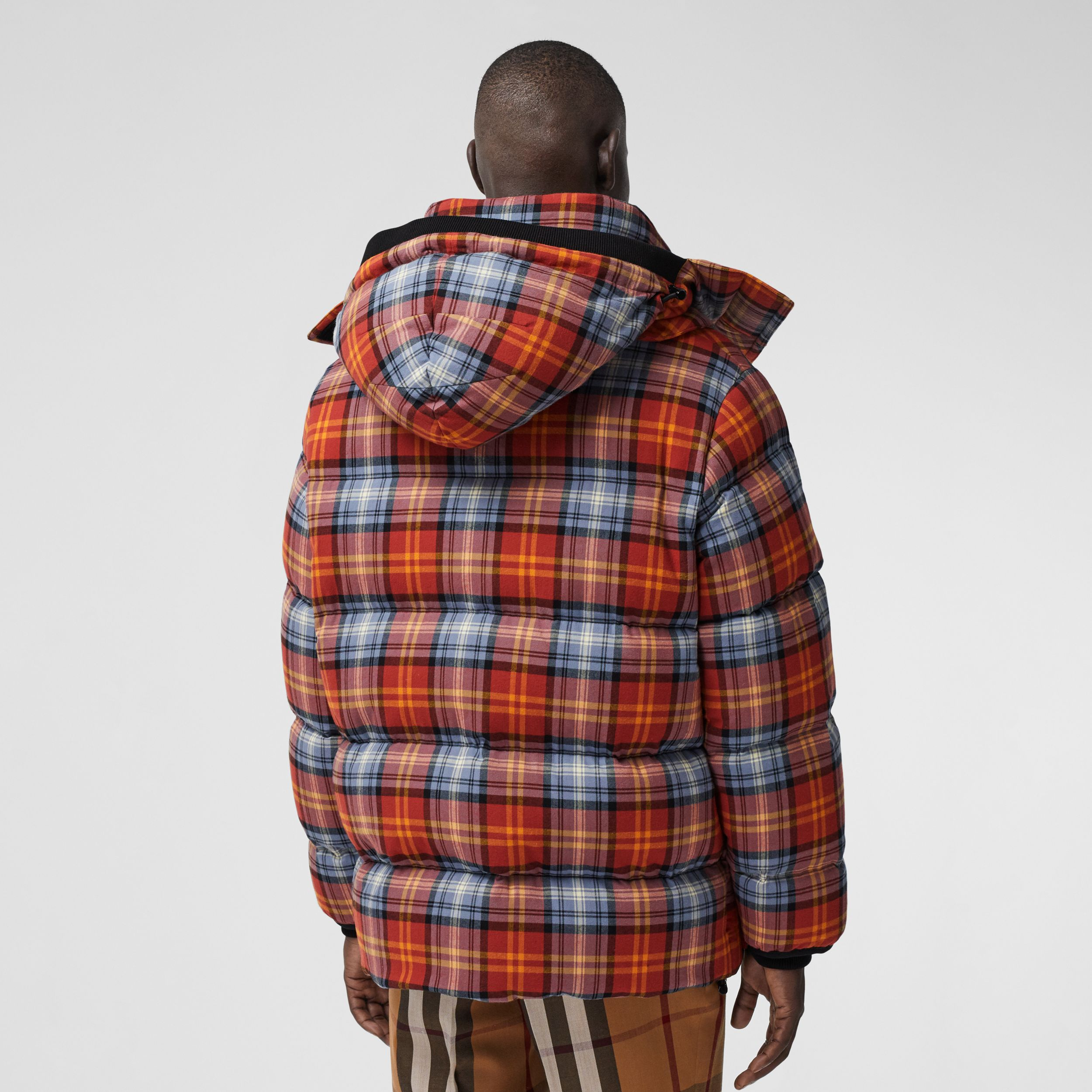 Detachable Hood Check Cotton Flannel Puffer Jacket in Multicolour - Men | Burberry - 3