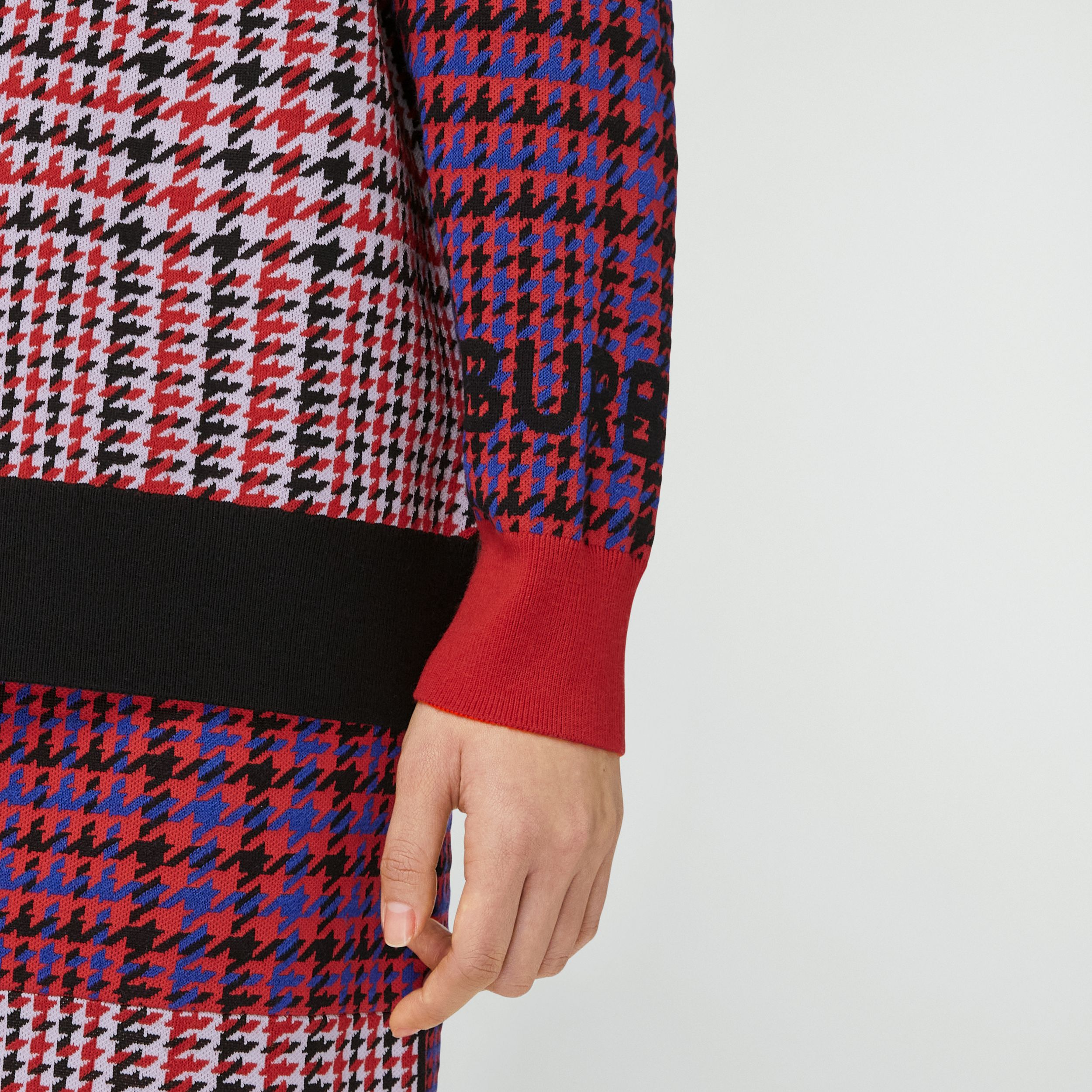 Houndstooth Check Technical Merino Wool Sweater in Bright Red - Women | Burberry - 2