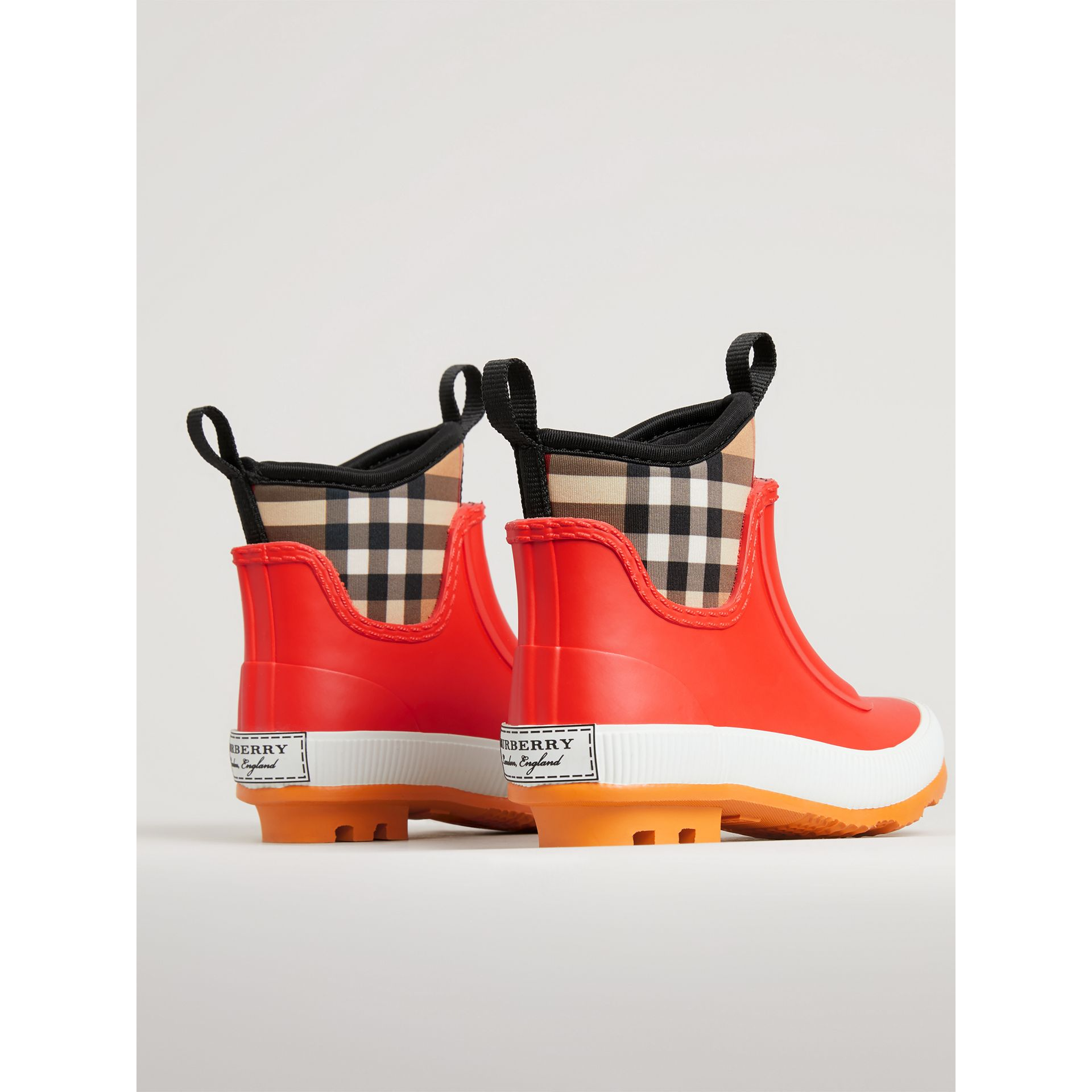 Vintage Check Neoprene and Rubber Rain Boots in Bright Red | Burberry United Kingdom - gallery image 2