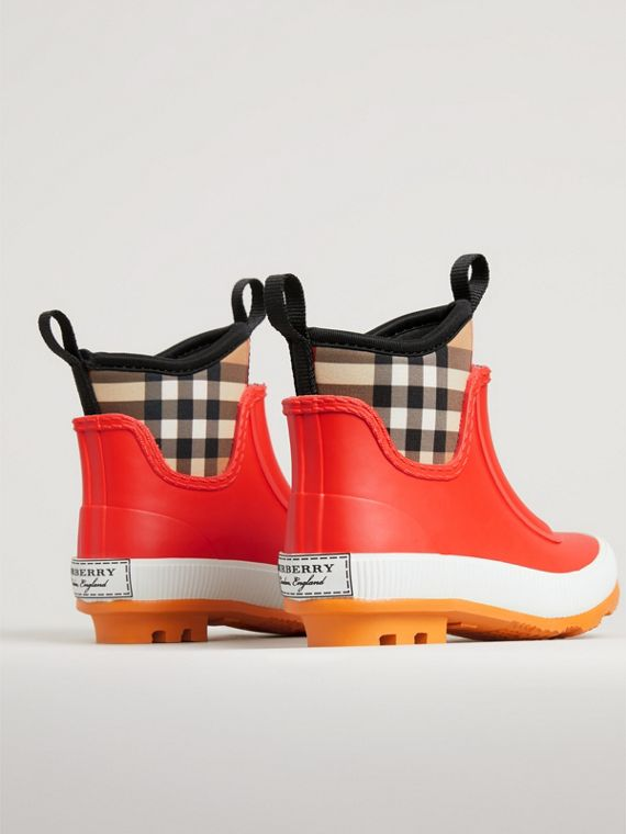 Vintage Check Neoprene and Rubber Rain Boots in Bright Red | Burberry United Kingdom - cell image 2